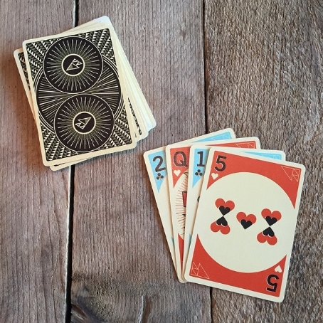 Image for social media, web, and email marketing to showcase an original deck of playing cards with a woodland theme.