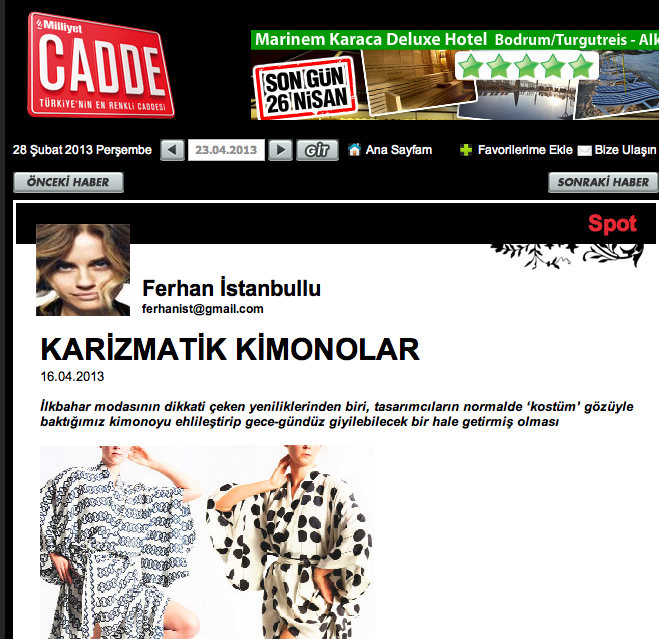 Kimonos - modelled by CLF - in Turkey's national Milliyet style section.