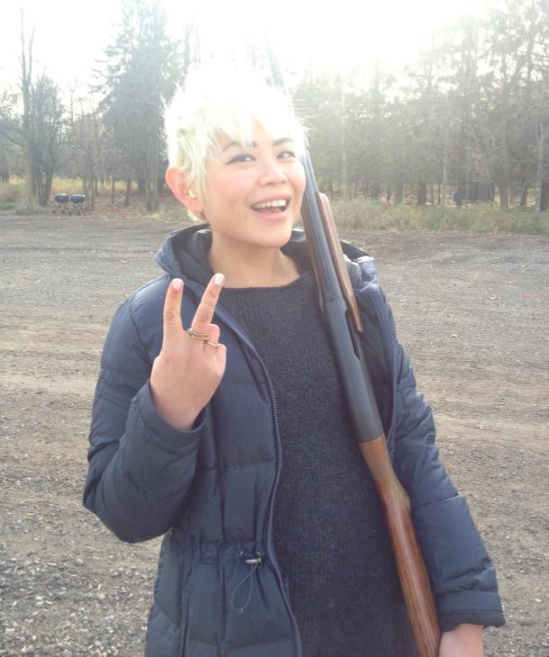 Annie, with a gun.