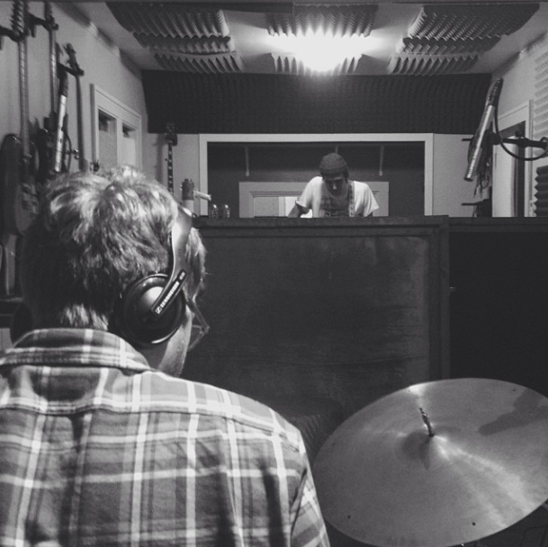 Matt & I, tracking guitars and drums. Photo by Jon.