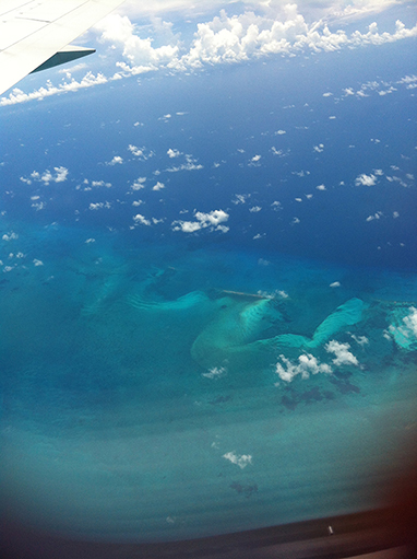 Bird's eye view of the ocean from the plane