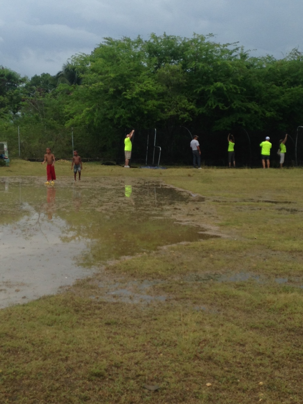 We came back this afternoon to find the field completely soaked--with kids happily running through it!
