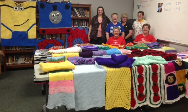 Here are the afghans that the Love Knots group created in Spring 2016 for the kids at Cardinal Glennon.