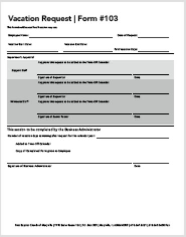 Vacation Request Form #103