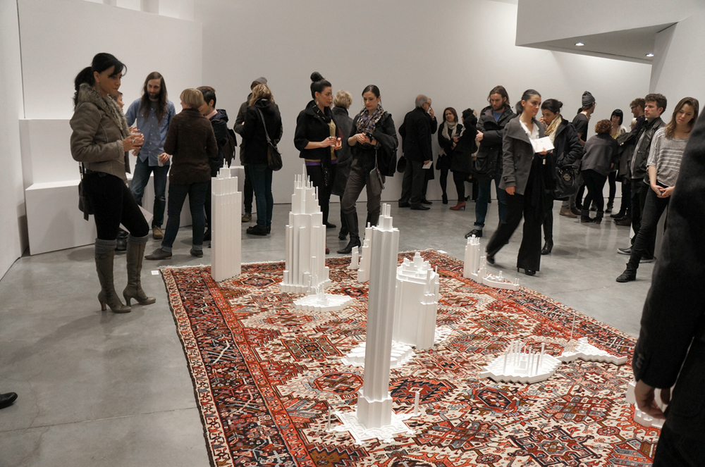 Babak Golkar builds a dialogue between East and West, modern and premodern, in his Persian carpet–based installation Grounds for Standing and Understanding.