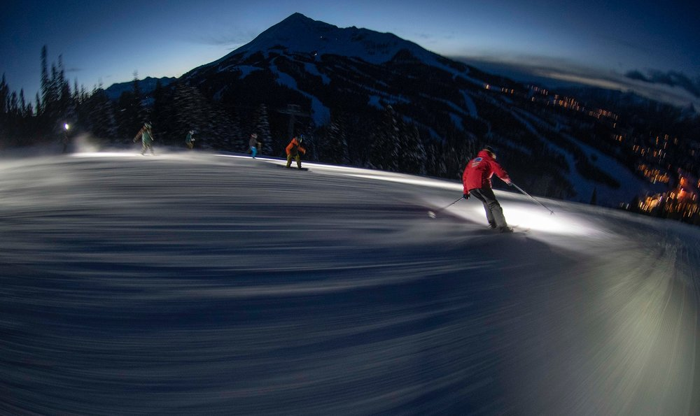 Big Sky Resort has reinvented night skiing using headlamps - crazy fun!