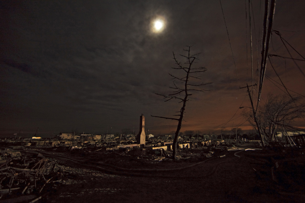 Breezy Point, Queens where over 100 homes were lost in a six-alarm fire as Hurricane Sandy passed through New York City.