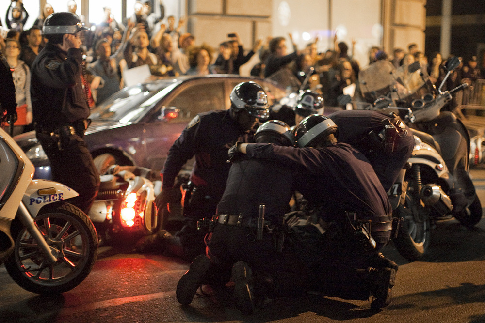 Occupy Wall Street supporters clash with police during a march through the Financial District in Manhattan.