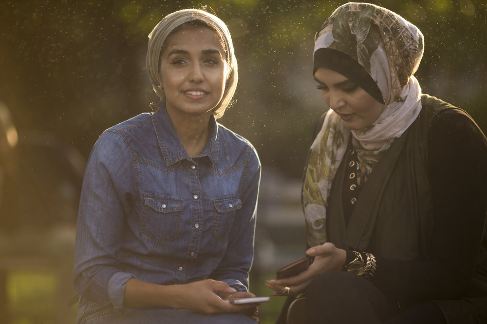 CUNY students Neghena Hamidi, left, and Nerdeen Kiswani in Washington Square Park in Manhattan.