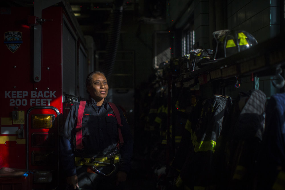 Jackie-Michelle Martinez, the FDNY's first women's outreach coordinator at her firehouse in Queens.