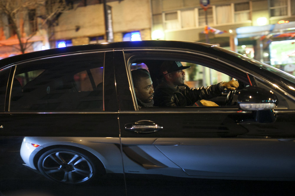 DJ Whoo Kid and comedian Jay Pharoah driving in Manhattan.