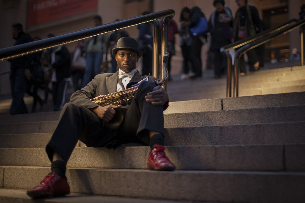 Musician Isaiah Richardson, Jr. outside the Metropolitan Museum of Art in Manhattan.