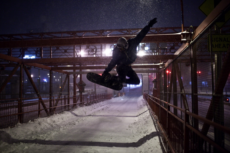 Snow night at the bridge.  Love Bryan .