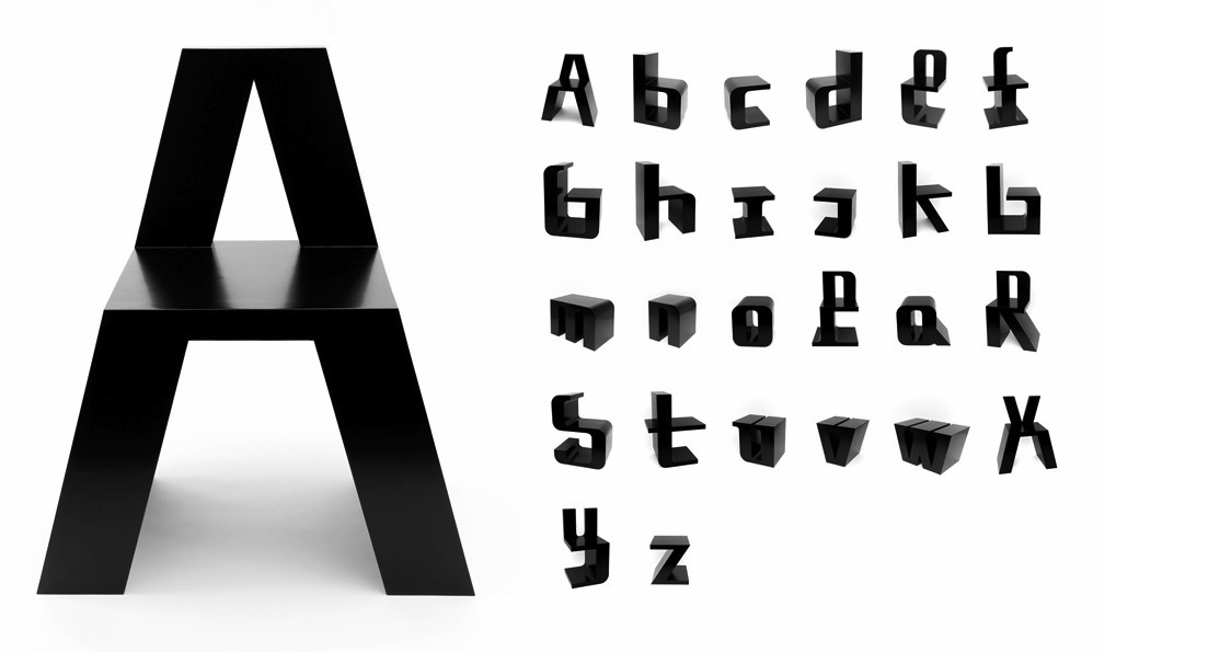 I want these bad. ABChairs designed by  Roeland Otten , a series of 26 typographic chairs made from lacquered MDF.