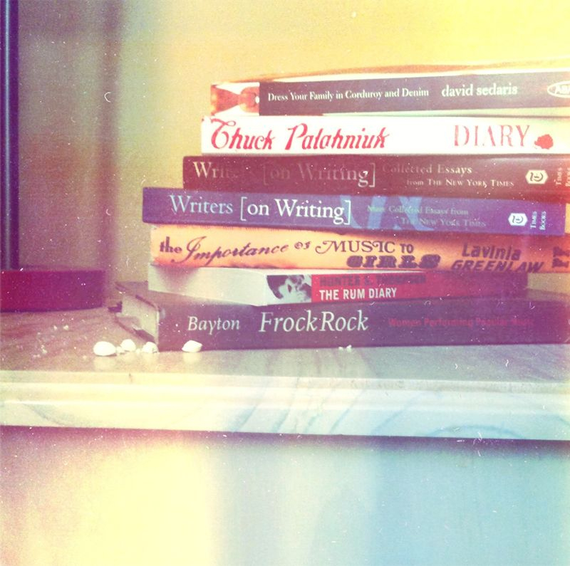 A bit of light reading on my shelf; just wishing I could be that person who reads only one book at a time, not seven.