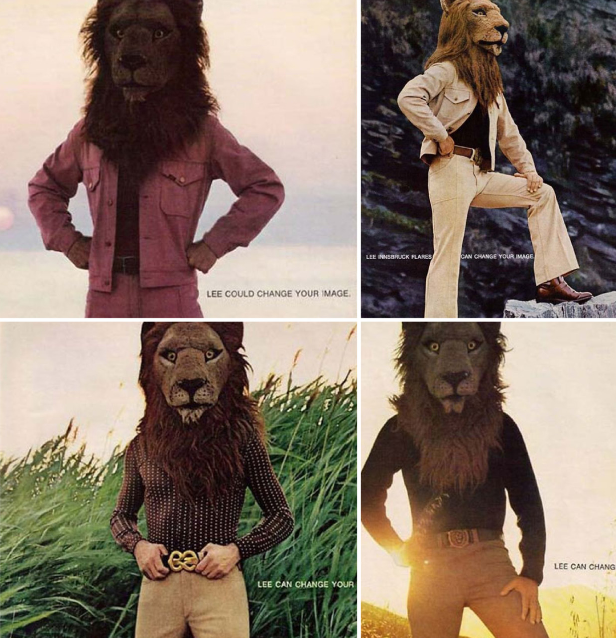 In 1971, Lee not only cut off your circulation with their tight pants, but made you look like a lion, too. Check out those slacks!