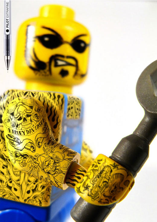 Found via Quipsologies:  Perfect advertisements for Pilot Extrafine pens using tattooed Lego figures as the subject. Campaign was created by Grey agency in Barcelona.