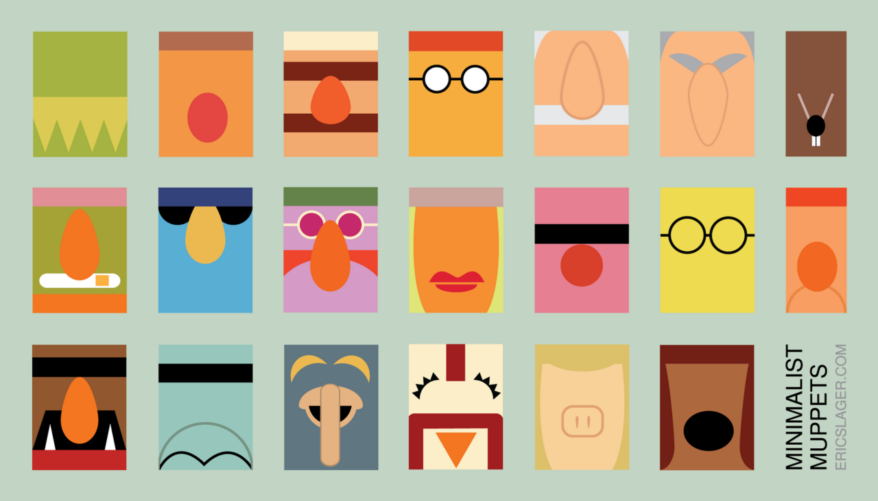 Minimalist muppets by Eric Slager.