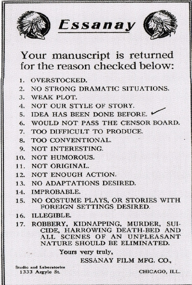 Hollywood Rejection Letter