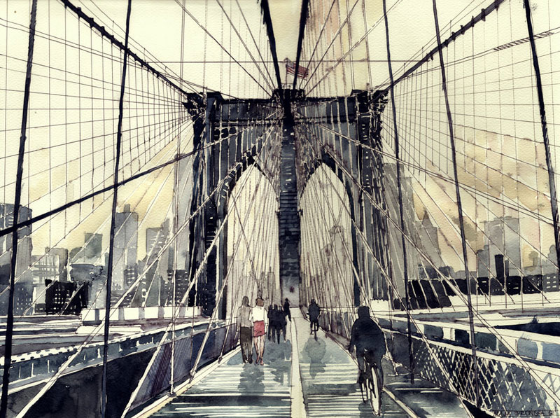 Brooklyn Bridge in New York City. Watercolor by Maja Wronska