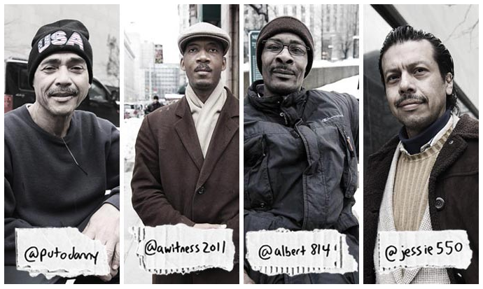 Giving a voice to the homeless, 140 characters at a time:  Underheard in New York .