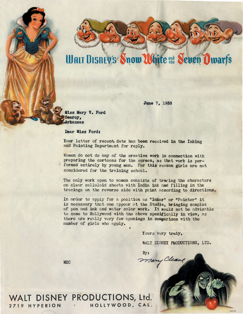 laughingsquid: Sexist Disney Rejection Letter Shoots Down Woman Wanting to Join Their Animator School in 1938