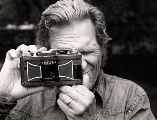 This reminds me of something:    via dodgenburn :            Jeff Bridges with his Widelux Camera            after reading his book,  Pictures , I became obsessed with getting a widelux camera.    which would be fine if only they didn't cost about a thousand pounds.    after a bizarre ebay deal I managed to get a weird russian copy, the Lomo Kompact. I haven't got a fucking clue how it works and the instructions are in Russian but I'll let you know how I get on.   here you can see Jeff holding it so his fingers don't get in the 120 degree shot. this method also means it jumps right out of your hands every other time you use it.