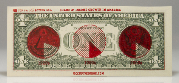 Money talks: it's a rare occasion that I like the use of infographics, and this might just be one of them.       This incredibly cool idea uses infographics stamped on dollar bills (one  of the very items in hot discussion by the Occupy Wall Street movement)  to quickly communicate jaw dropping facts to the country at large.  Occupy George ,  the creators of the stamps, have open-sourced all the design giving  citizens access to images for making your own rubber stamps. For those  who don't have easy access to a stamp making company, they've also  created a set of printable dollar bills complete with graphics.         (via  Dollar Bills Spread the News )