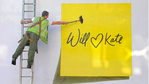 "Post-it's latest campaign involving giant yellow notes stuck up around London wishing Prince William and Kate Middleton a long and happy marriage together. ""May you stick together forever. Congratulations,"" says copy on the wall next to the notes. The tagline is: ""Holds stronger and longer."""
