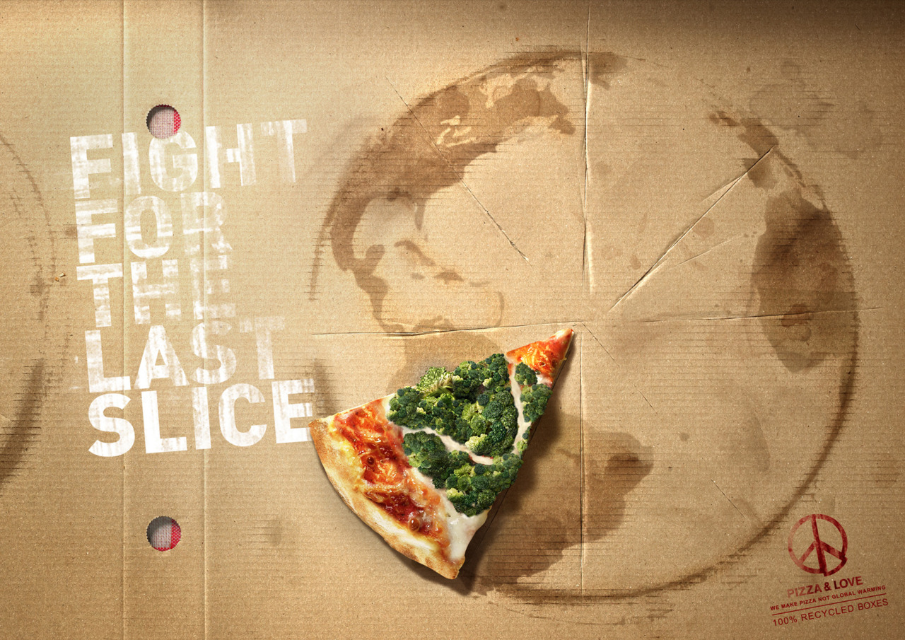 Not sure about the connection to eating pizza and saving the world, but there's a nice idea in the visuals. From the same company that brought us  rooting vegetables .