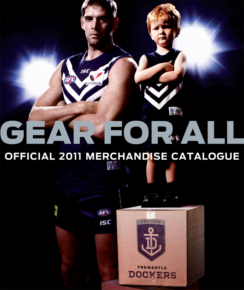 blockbranding: Our Fraser matches it with 7-foot-high Sandilands on the cover of the Fremantle Dockers merch catalogue by Block.