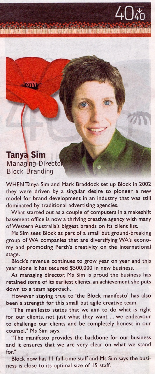 blockbranding :     Block's leader, Tanya, was named one of Western Australia's 40 Under 40 business people last night in front 850 people at the gala.      Nice one boss!