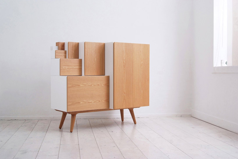 Oh. Hubba hubba. Korean studio kamkam latest project 'an furniture'. they created their cabinet based around 'Ax' paper sizes ; A3, A4, A5, etc, where the same ratio of width : length can be achieved when they are folded in half. 'an furniture' can be arranged and moved to become a closet, a bookshelf, a storage cabinet and a drawer.