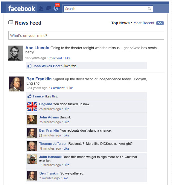 If historical events had Facebook status updates. See the rest here at  Cool Material .