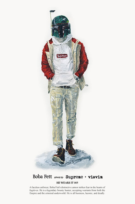 If Boba Fett spent more time in New York and less time as a bounty hunter you might spot him on the Sartorialist. Boba, Darth Vader and a couple of storm troopers take part in John Woo's He Wears It series that I am in love with. It's a great concept. Via The Pursuit Aesthetic — via PUBLIC SCHOOL via: benjaminf