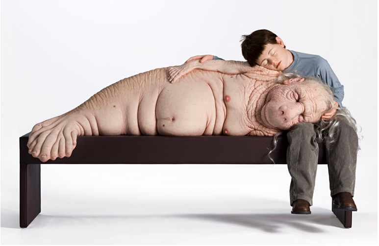 Artist Patricia Piccinini, her works are strange and beautiful. The Long Awaited (2008) Silicone, fibreglass, human hair, leather, plywood, clothing. 152x80x92cm