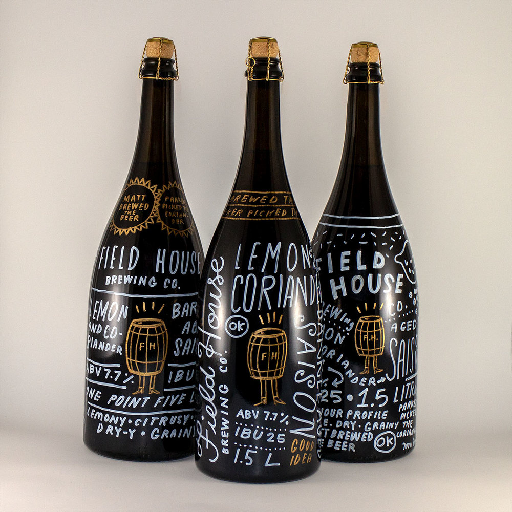 Hand lettered magnum bottles for Field House