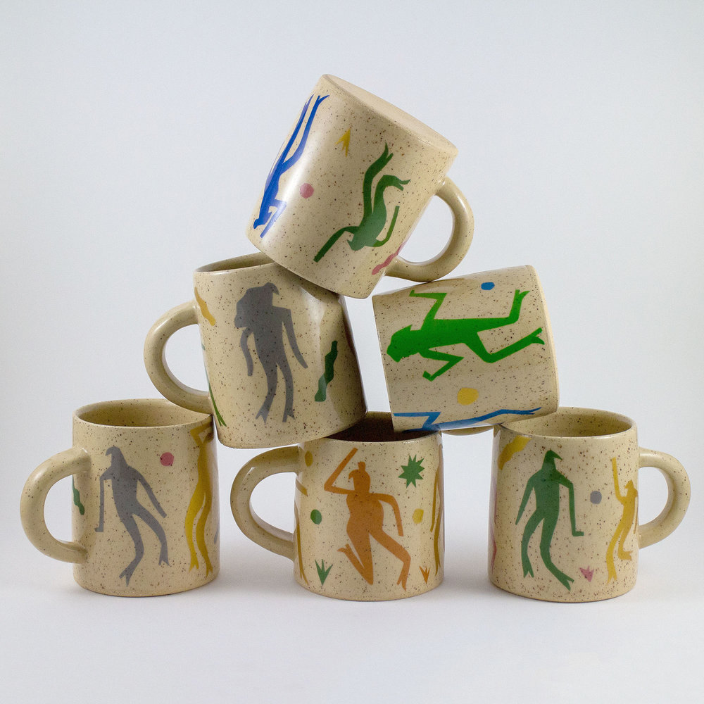 Figure mugs with Cathy Terepocki