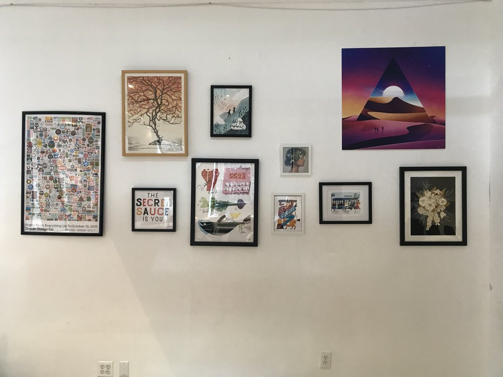My work up on the wall — along with Aaron Draplin's, no less.