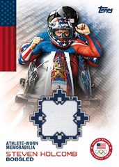 An example of the 2014 Olympic Trading Card set, this maybe what the cards look like with a swatch of clothes from Steven.