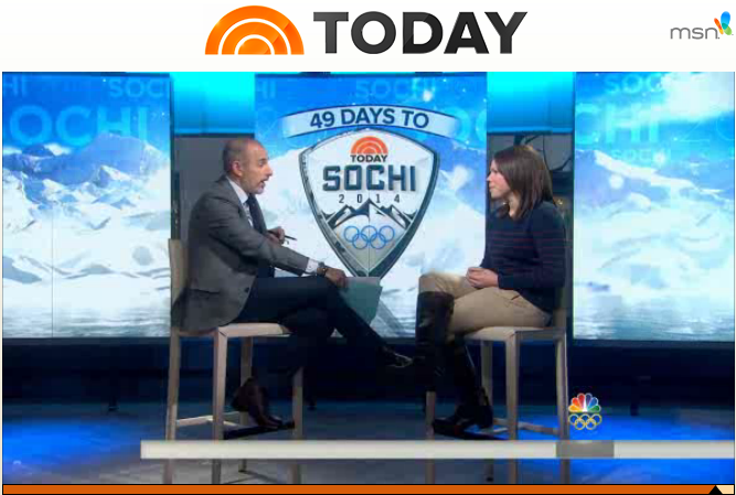 Caitlin being interviewed by Matt Lauer on Today Show, December 19, 2013 regarding who appointment by President Obama as a member of the Sochi 2014 delegation for the United States.