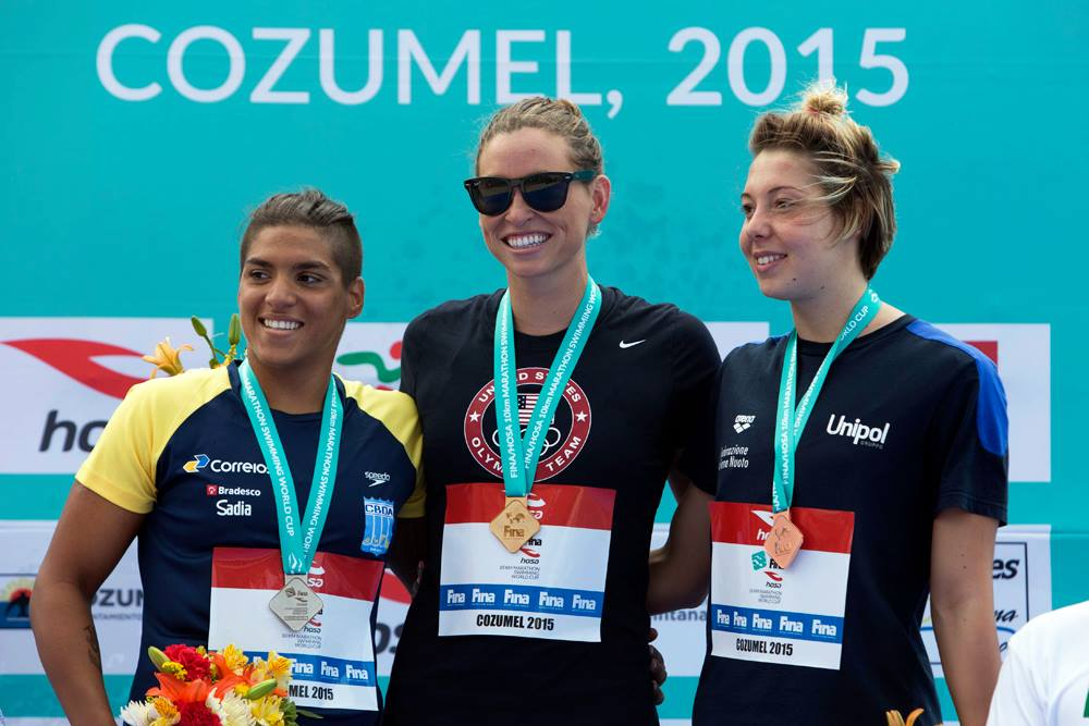 Courtesy of FINA - Haley Anderson with Brazilian and Italian medalists at the FINA Marathon Open Water World Cup in Cozumel, Mexico (May 2015).