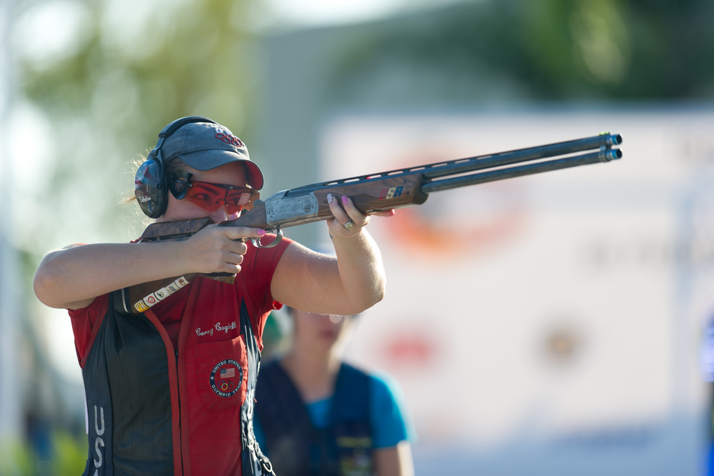In competition, Corey uses Krieghoff Shotguns.