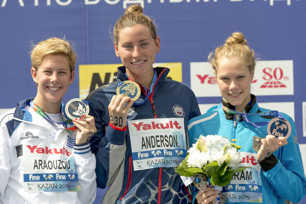 Courtesy of FINA - Haley Anderson with Greece and German medalists at the FINA 2015 World Championship in Kazan, Russia (July 25, 2015) where she won the 5k Open Water title.  The medal was the 500th FINA World Championship medal all-time for the United States.