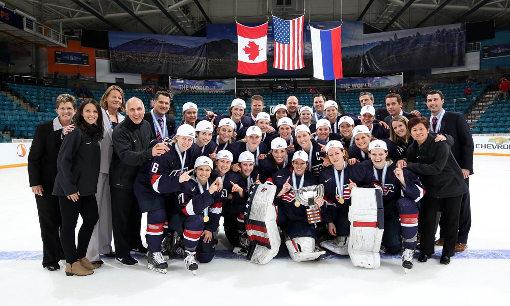 Team USA after defeating Canada in sudden death OT at the 2016 Women's World Championship in Kamloops, BC.  Meghan pictured in the center was the Team Captain for the U.S.