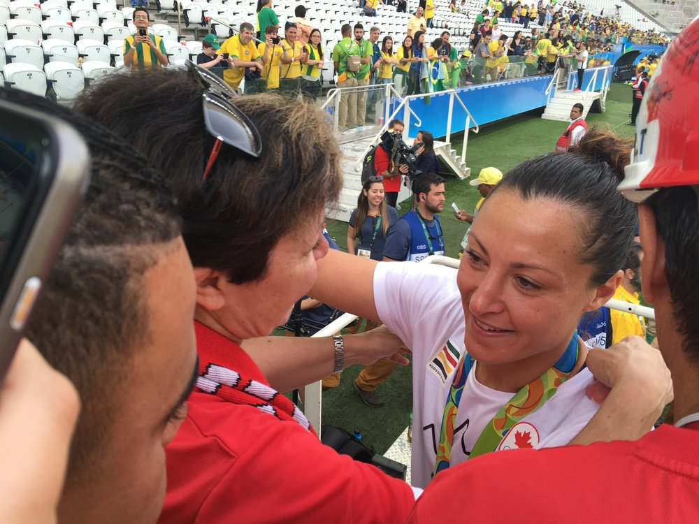 Post game at Rio 2016 with Anne-Marie Tancredi, Melissa and Peter