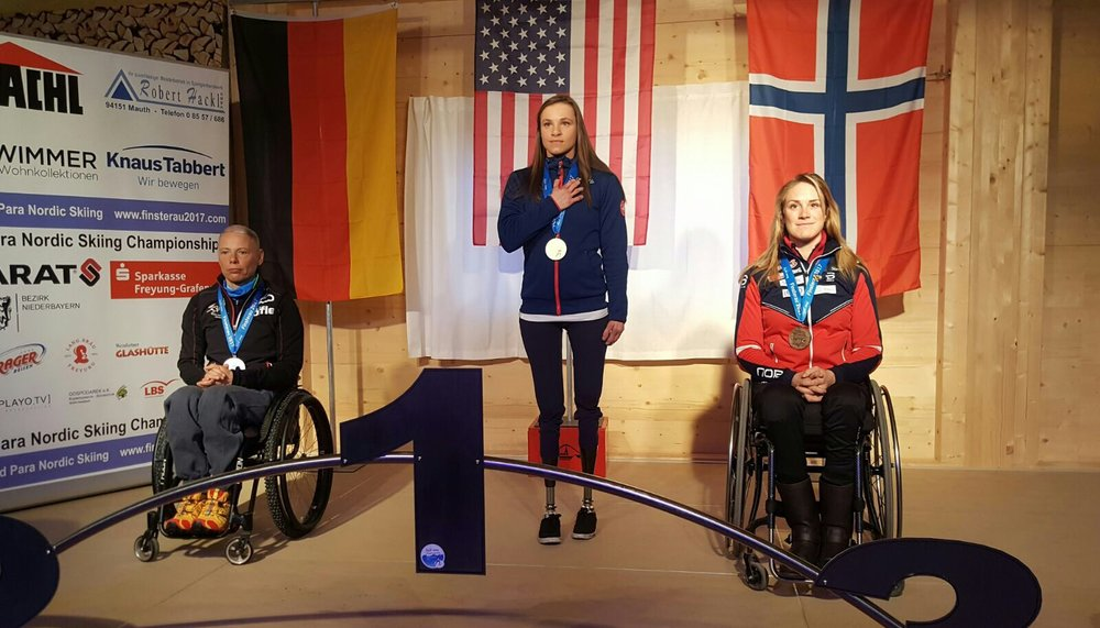 Oksana Masters captured the first IPC ParaNordic World Championship for the United States at Finsterau 2017 (Germany).  Oksana ultimately won 4 World Titles at this event.  Photo courtesy of U.S. ParaNordic.