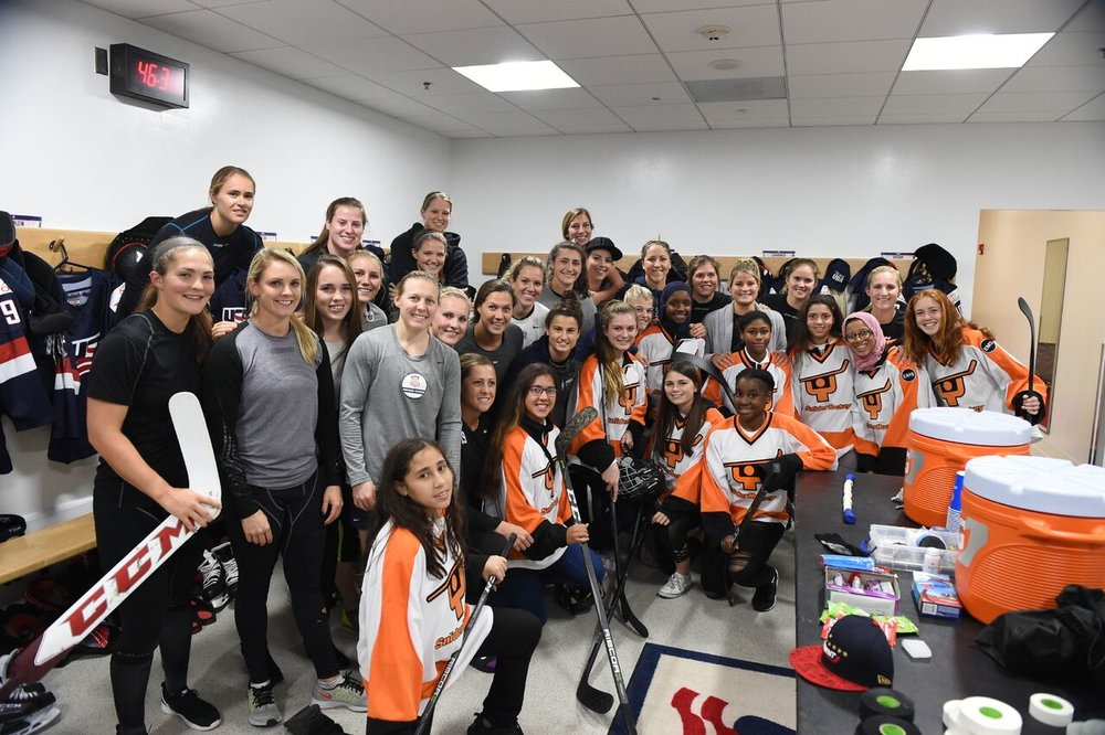 Snider Hockey in the locker room prior to the USWNT game vs Canada in Boston, October 25, 2017