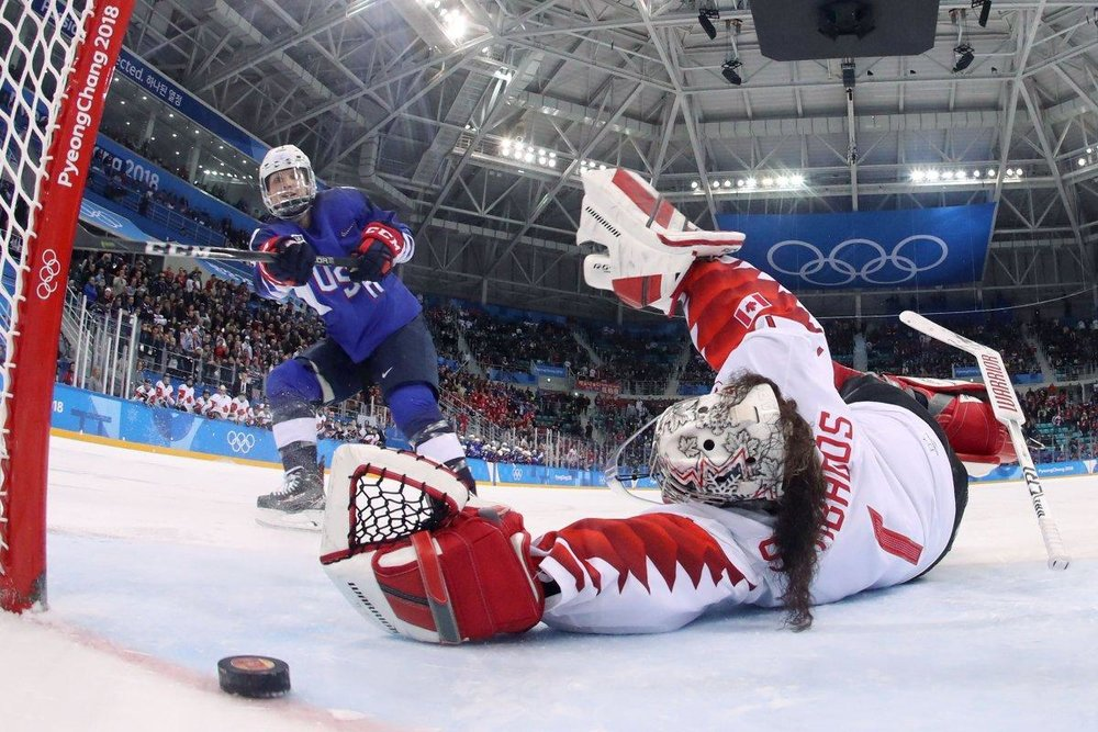 """Oops, I did it again"" Goal scored that ultimately was the Game Winning Goal for Team USA over a sprawled Shannon Szabados of Canada."