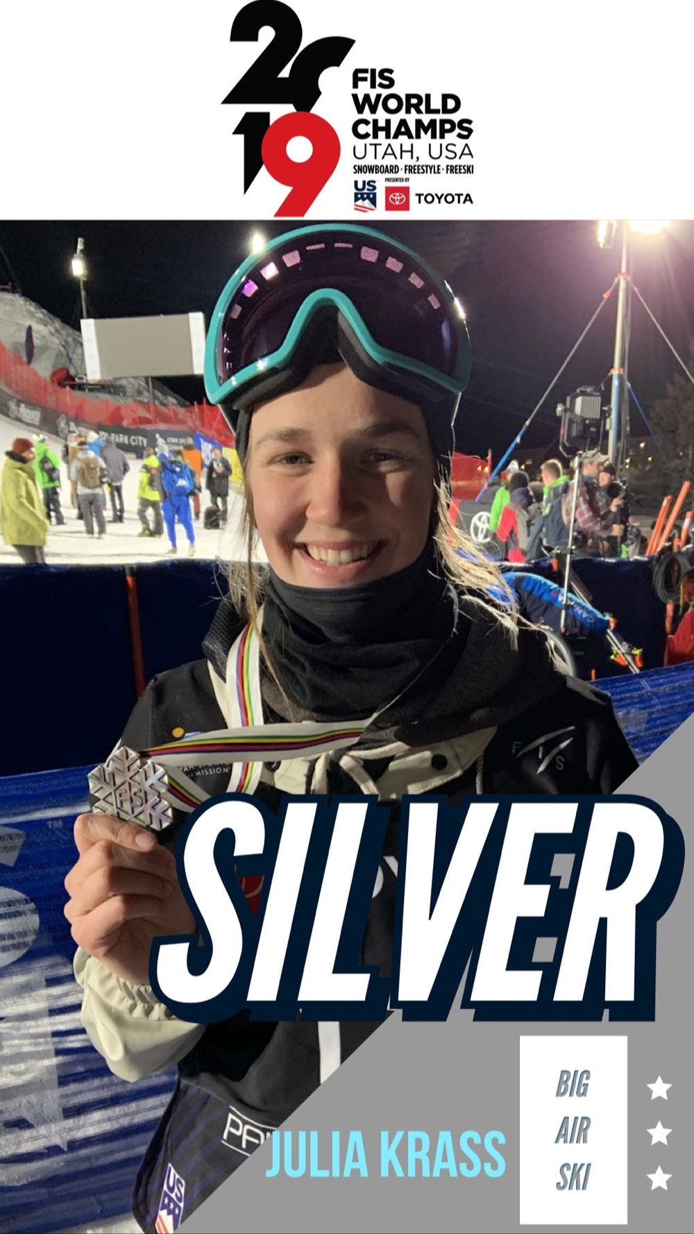At the inaugural Big Air Ski FIS Freestyle World Championship in February 2019, Julia hit the podium in front of 6,000+ spectators under the lights at The Canyons Resort - Park City Mountain.